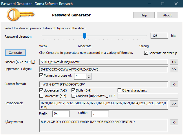 Password Generator screen